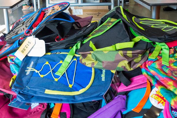 Pile of brand new backpacks